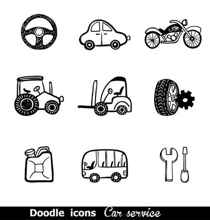 doodled: Doodled icons with car services for any project.