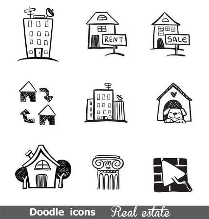 rent: Doodled icons on real estate for any project.
