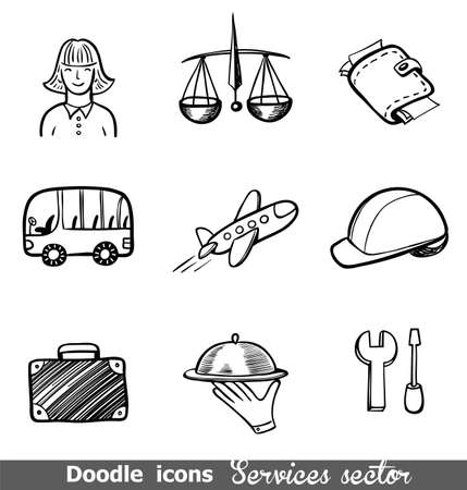 sector: Services sector doodled icons  for any project.