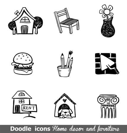 Home decor doodle icons for any project.