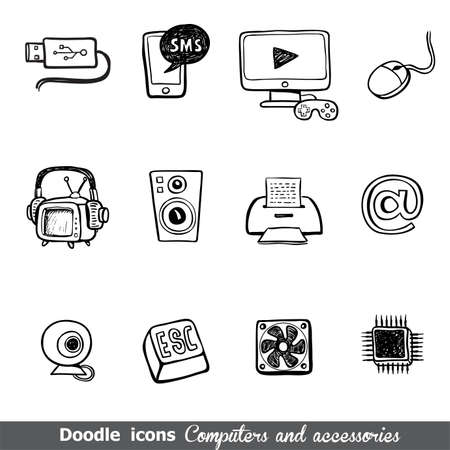 spare parts: Computers and accessories doodles icon set for any project. Illustration