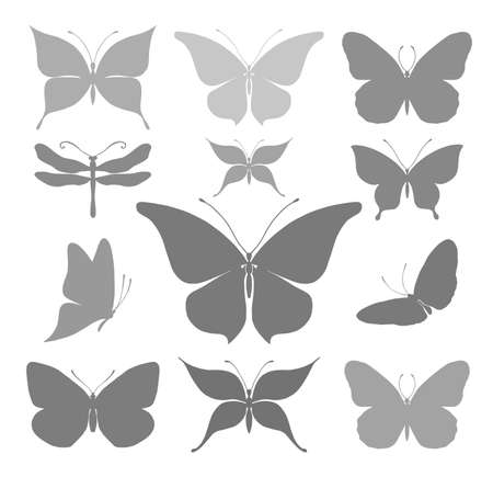 Silhouettes of beautiful butterflies illustration. Illustration