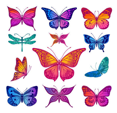 Illustrations of tattoo style butterflies Иллюстрация