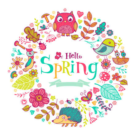 Hello Spring banner in doodle style, hand-drawn animals and insects, flowers and plants Illustration
