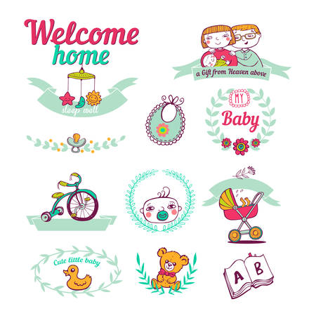 baby mother: Set of stickers Newborn welcome home Illustration