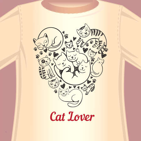 tees: Stylish print with cats in the form of heart for the fan of cats