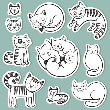 black silhouette: Stickers with cute doodle cats with different emotions.