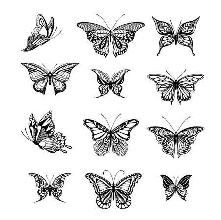 Illustrations de papillons de style tatto