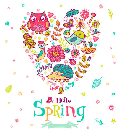 stick bug: Hello Spring banner in doodle style, illustrations in the heart shape