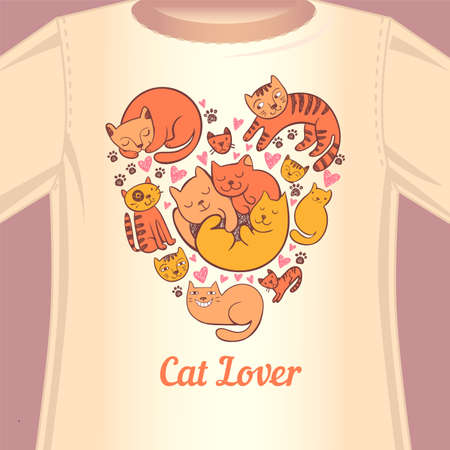t background: Stylish print with cats in the form of heart for the fan of cats