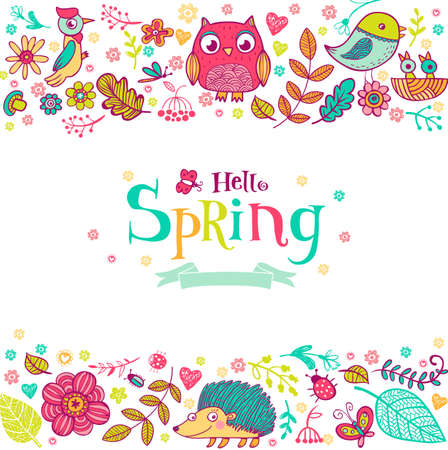 urchin: Hello Spring banner in doodle style, hand-drawn animals and insects, flowers and plants Illustration