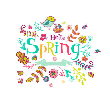 Hello Spring banner in doodle style, hand-drawn animals and insects, flowers and plants Vettoriali
