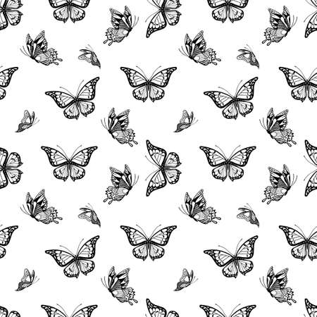 simplify: Seamless background with detailed butterflyes