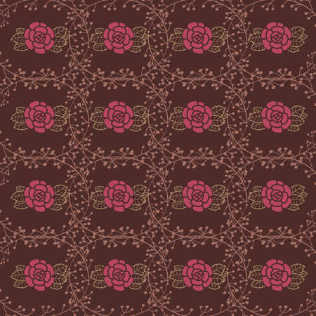 deep purple: Seamless background with roses and leaves on deep purple background. vector illustration