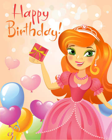 children birthday: Illustration of beautiful princess keeping a gift in a hand. Possible to use as party invitation, greeting card, banner. Vector illustration.