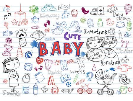 Conjunto de iconos a mano de juguetes para bebés, comida, accesorios. Ilustración de vector