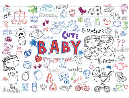 baby doll: Set of hand-drawn icons baby toys, food, accessories.