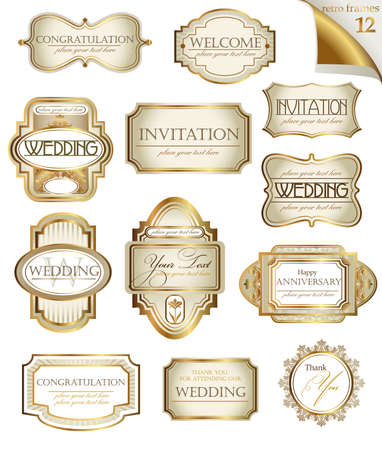 gold frame: Vector white gold-framed  ornamental labels set. Easy to scale and edit. All pieces are separated.