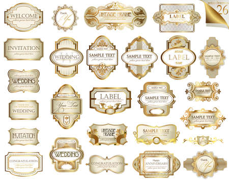 creme: Vector white gold-framed  ornamental labels set. Easy to scale and edit. All pieces are separated.