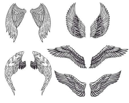 adler silhouette: Heraldische Flügel für Tätowierung oder Maskottchen Design gesetzt.