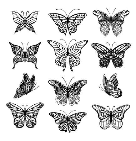 Illustrations of tatto style butterflies Ilustracja