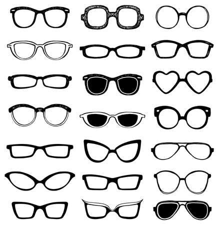girl wearing glasses: Drawn glasses vector set. Retro hipsters style. Illustration