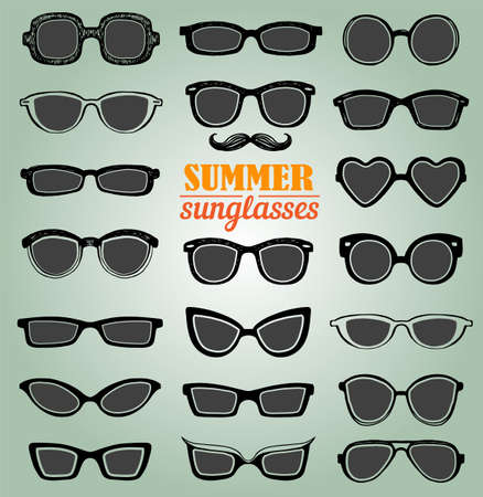 sunglasses: Drawn summer sunglasses vector set. Retro hipsters style.