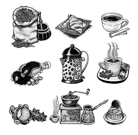 cappuccino: Vector illustration Hand drawn sketch vintage coffee set.  Design elements  for menu cafe and restaurant