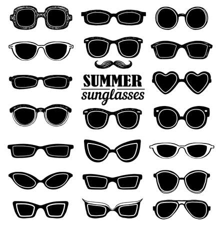 girl wearing glasses: Drawn summer sunglasses vector set. Retro hipsters style.