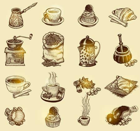 Vector illustration tirée par la main croquis à café vintage. Les éléments de conception pour le menu café et un restaurant