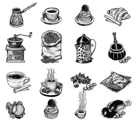 coffee mill: Vector illustration Hand drawn sketch vintage coffee set.  Design elements  for menu cafe and restaurant