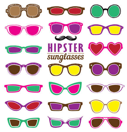 sunglasses: Drawn Hipsters colorful sunglasses vector set. Retro hipsters style. Illustration