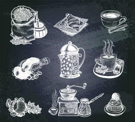cafe menu: Vector illustration Hand drawn sketch vintage coffee set.  Design elements  for menu cafe and restaurant