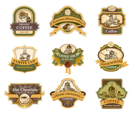 beans: Coffee design templates ornamental labels set. Easy to scale and edit. All pieces are separated.