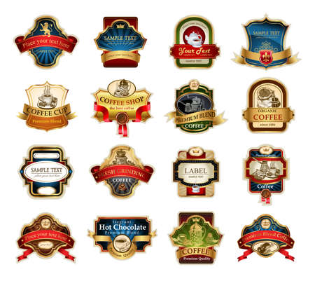 Coffee design templates ornamental labels set. Easy to scale and edit. All pieces are separated.