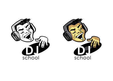 dork: DJ in earphones plays on a vinyl record. Design element for different projects.