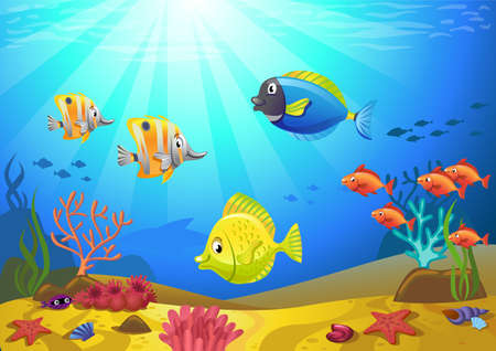illustration of a seabed with corals and small fishes