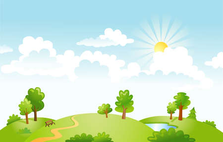 rural scene: illustration of beautiful landscape. Rural scene with green field and bright sun on a summer morning