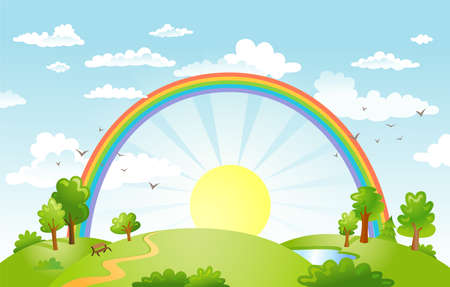 rural scene: Rural scene with rainbow and bright sun and trees on sunny day Illustration
