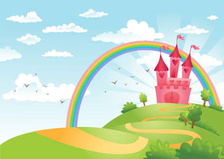 leading: FairyTale landscape, the road leading to the castle. Illustration