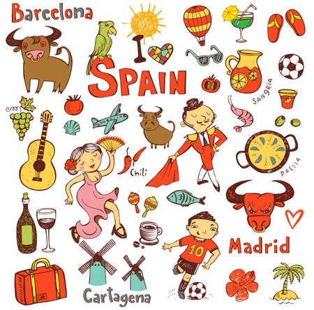 toreador: A set of Spain symbols and landmarks, vector illustration.