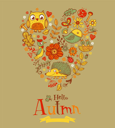 autmn: Hello Autmn banner in doodle style, hand-drawn animals and insects, flowers and plants