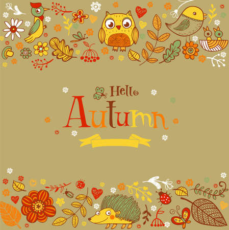 stick bug: Hello Autumn banner in doodle style, hand-drawn animals and insects, flowers and plants