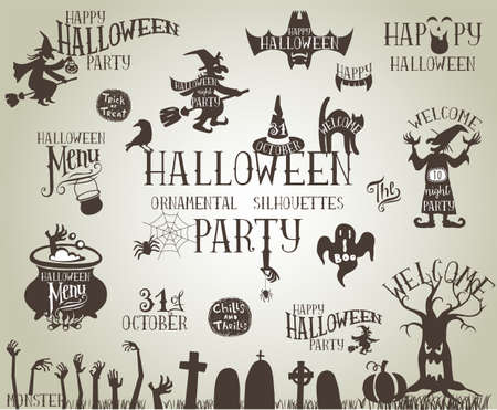 discoteque: Set of Vintage Vector silhouettes for Halloween party Illustration