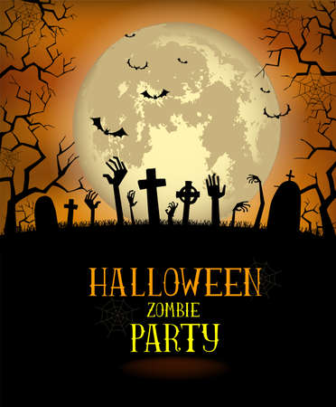 Halloween background for a poster or the zombies party invitation Illustration