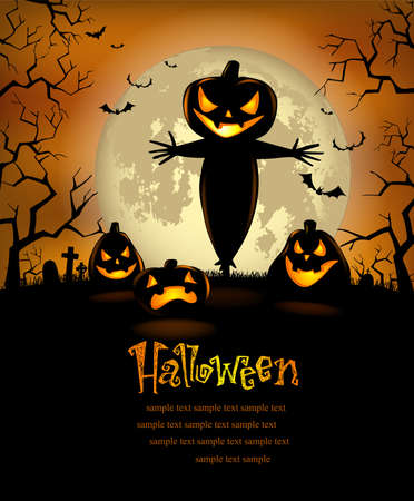 fictional character: Halloween Party Poster with terrible pumpkins and a scarecrow, vector format Illustration