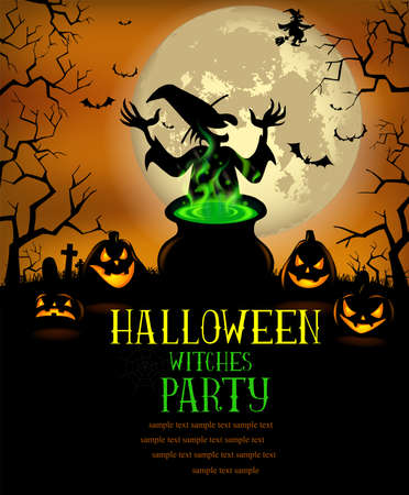 scrapping: Halloween Witches Party Poster in vector format