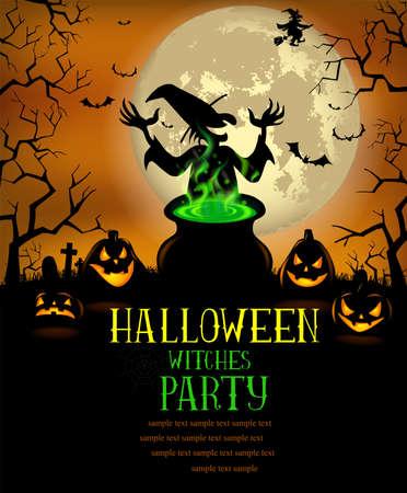 Poster Heksen van Halloween Party in vector-formaat