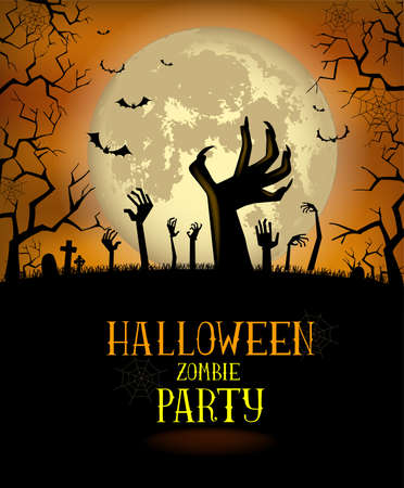 nightmare: Halloween background for a poster or the zombies party invitation Illustration
