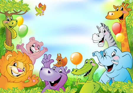 cartoon space: Cartoon animals, cheerful background with free space for text